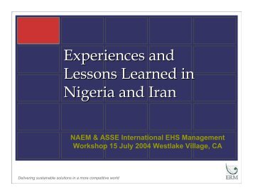 Experiences and Lessons Learned in Nigeria and Iran - NAEM