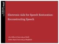 Electronic Aids for Speech Restoration: Reconstructing Speech