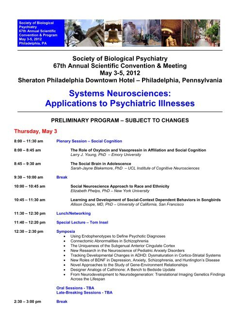 Program - Society of Biological Psychiatry