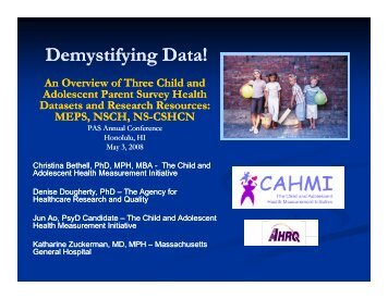 Demystifying Data! - Data Resource Center for Child and Adolescent ...