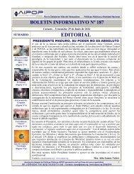 Boletín Informativo Nº 187 del 29 de Junio de 2014