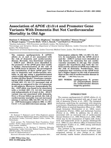 Association of APOE - Molepi - molecular epidemiology