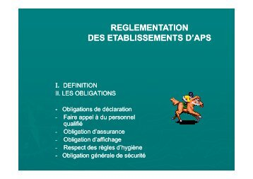 Descriptif de la réglementation des établissements d'Activités ...