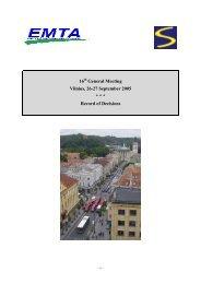16 General Meeting Vilnius, 26-27 September 2005 ... - EMTA