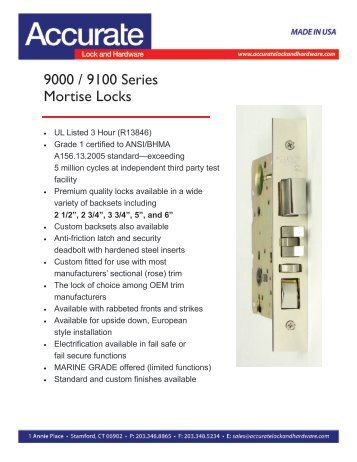 9000 / 9100 Series Mortise Locks - Accurate Lock and Hardware