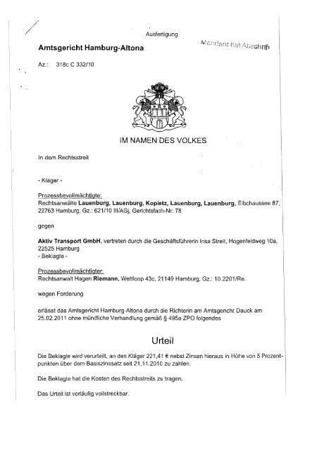 Urteil Ihr Anwalt Hamburg Rechtsanwãlte Lauenburg Kopietz