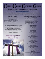 CHRISTI CORPUS CATHOLIC HURCH First Sunday of Lent