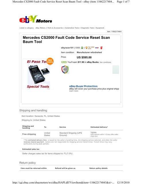 Mercedes CS2000 Fault Code Service Reset Scan Baum Tool