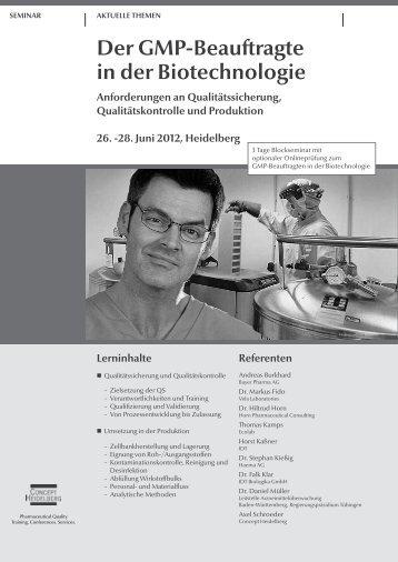 Der GMP-Beauftragte in der Biotechnologie - GMP-Navigator