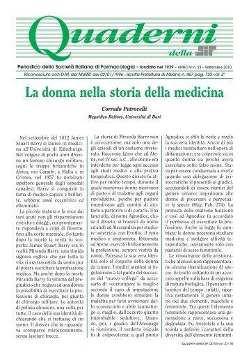 Volume 23 - SETTEMBRE 2010 - La donna nella storia della medicina