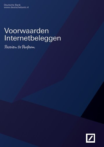 Algemene Voorwaarden Internetbeleggen - Deutsche Bank