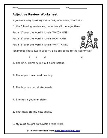 Adjective Review Worksheet - Teach-nology