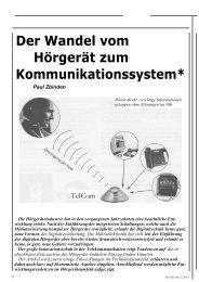 Der Wandel vom Hörgerät zum Kommunikationssystem* - Phonak
