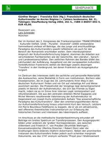 Günther Berger / Franziska Sick (Hg.): Französisch ... - Sehepunkte
