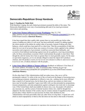 Democratic-Republican Group Handouts - EDSITEment
