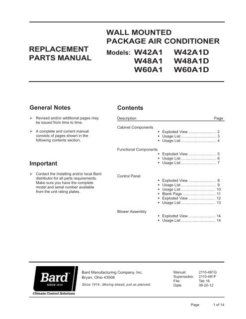 2110 481 Bard Manufacturing Company