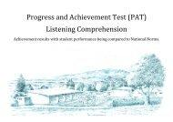 (PAT) Listening Comprehension - Waikanae School