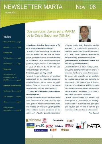 Newsletter MARTA número 01 - Telefónica I+D