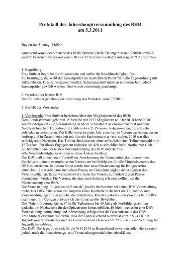 Protokoll der Hauptversammlung des BHB am 5. März 2011.