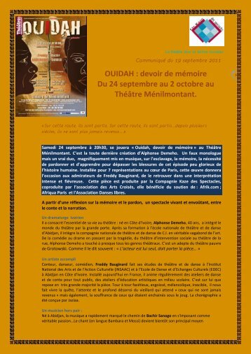 OUIDAH : devoir de mémoire Du 24 septembre au 2 octobre au ...