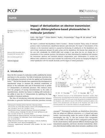 Impact of derivatization on electron transmission through ...