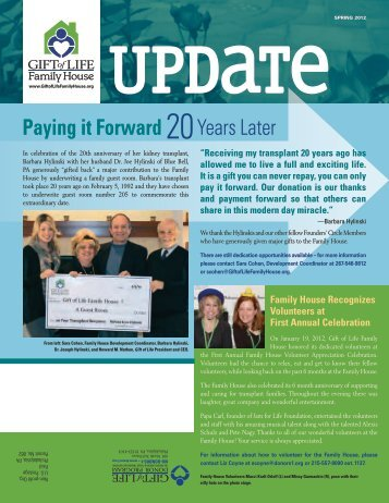 Gift of Life Family House Newsletter