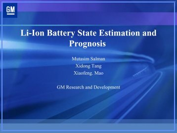 Li-Ion Battery State Estimation and Prognosis - PHM Society