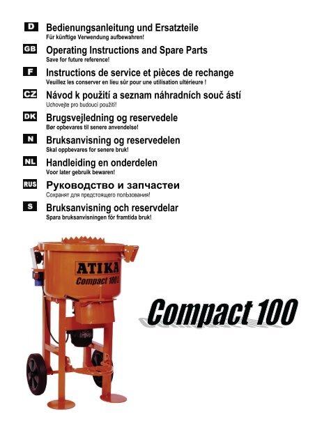 Bedienungsanleitung und Ersatzteile Operating Instructions ... - Atika