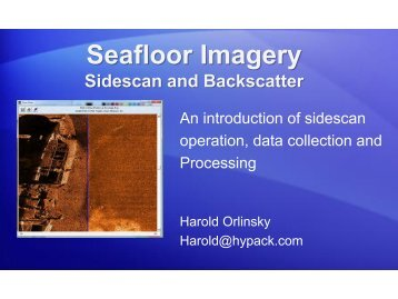 Seafloor Imagery - Sidescan and Backscatter