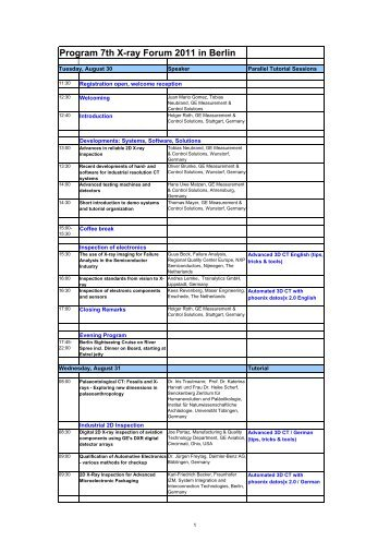 Program 7th X-ray Forum 2011 in Berlin - Phoenix|x-ray