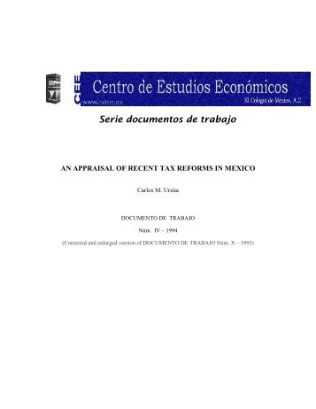 Serie documentos de trabajo - Centro de Estudios Económicos