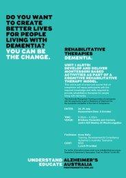 Rehabilitative Therapies flyer(PDF, 209 kB) - Alzheimer's Australia