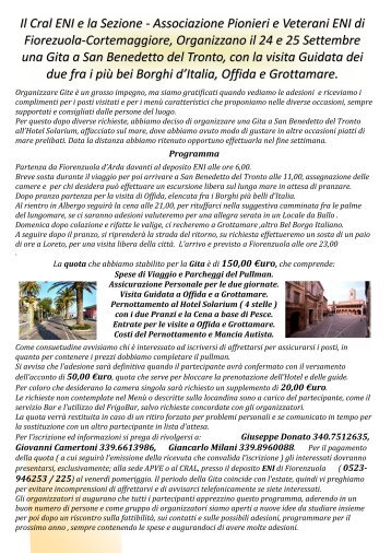 Il Cral ENI e la Sezione - Associazione Pionieri e Veterani ENI di ...