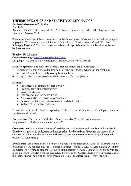 THERMODYNAMICS AND STATISTICAL MECHANICS - dirac