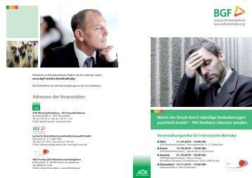 Flyer zur Veranstaltung - Institut für Betriebliche Gesundheitsförderung