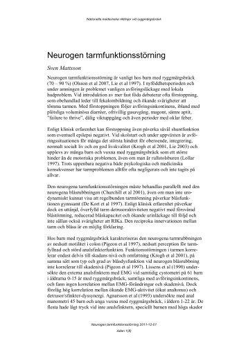 Neurogen tarmfunktionsstörning - BLF