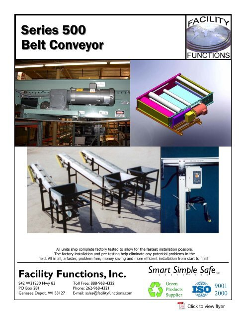 Series 500 Belt Conveyor Facility Functions Inc