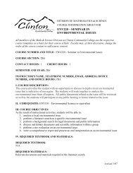 MATHEMATICS COURSE OBJECTIVES - Clinton Community College