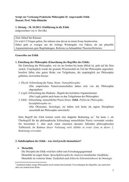 Script Zur Vorlesung Praktische Philosophie Ii Angewandte Ethik