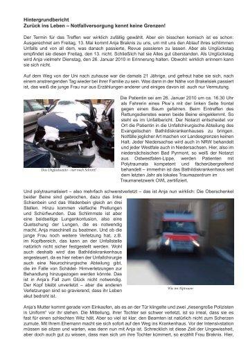 Hintergrundbericht Zurück ins Leben – Notfallversorgung kennt ...