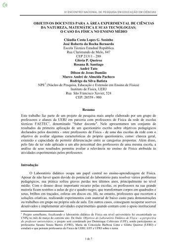 objetivos docentes para a área experimental de ... - Axpfep1.if.usp.br