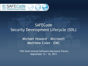 SAFECode Security Development Lifecycle (SDL) - Build Security In