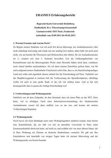 Erfahrungsbericht WS 11/12 - Erasmus
