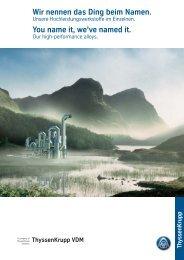 Hochleistungswerkstoffe - ThyssenKrupp VDM