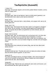 Vorschläge zu Bibelstellen für Taufsprüche