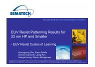 EUV Resist Patterning Results for 22 nm HP and Smaller - Sematech