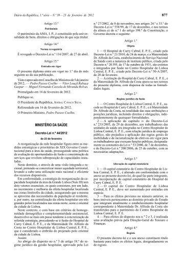 Decreto-Lei n.º 44/2012 - Centro Hospitalar de Lisboa Central