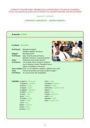 A scuola - U Å¡koli CORSO DI ITALIANO PER I MEMBRI DELLA ...