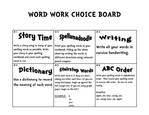WORD WORK CHOICE BOARD