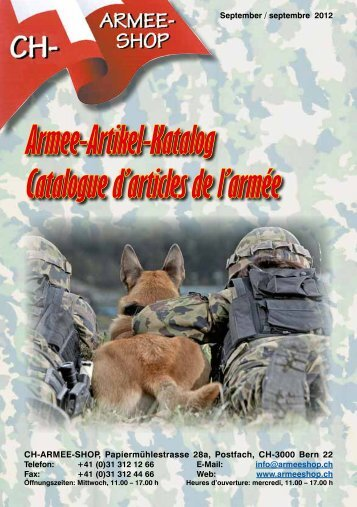Armee-Artikel-Katalog Catalogue d'articles de l - CH-Armeeshop ...